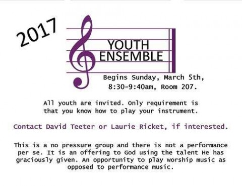 Youth Ensemble Begins Sunday, March 5
